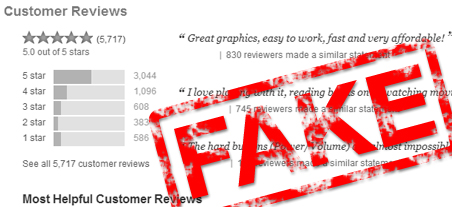 Use of fake reviews -- internet marketing outsourcing