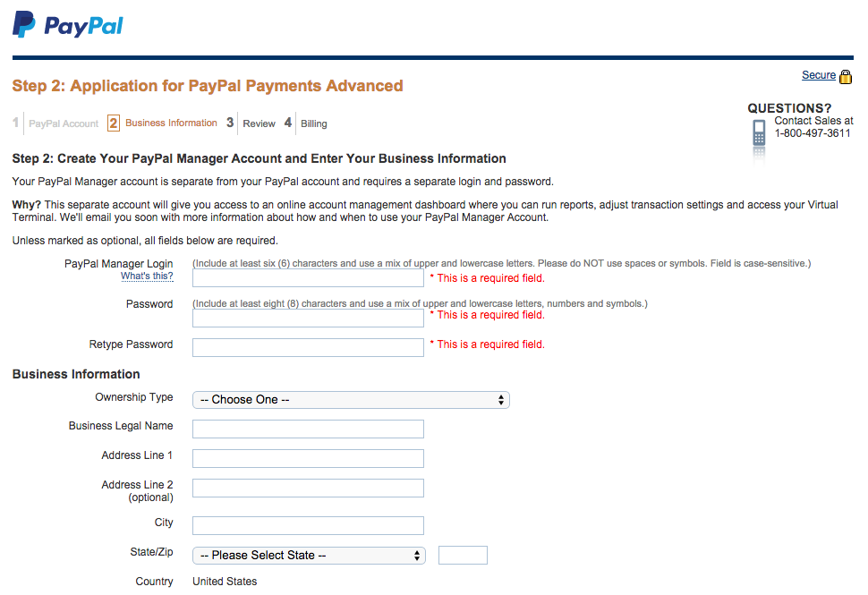 PayPal Payments Advanced Application