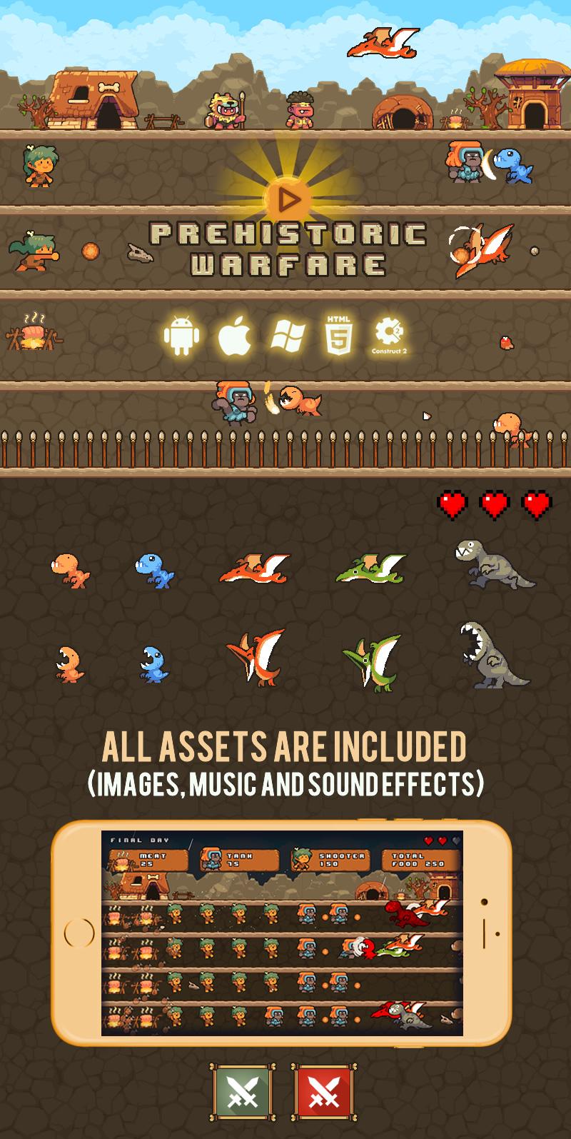 Prehistoric Warfare - HTML5 Game (Capx) - 2