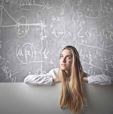 Young Woman at Blackboard