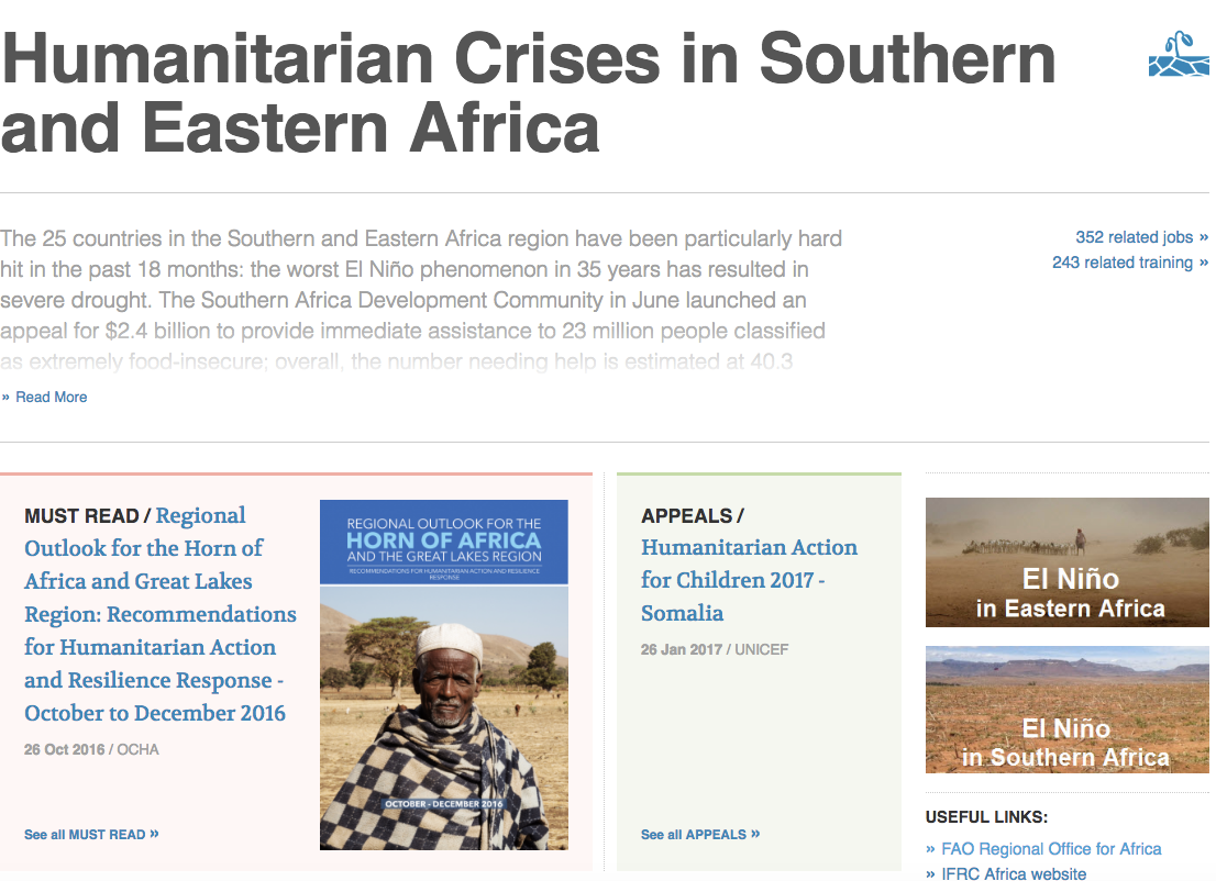 Humanitarian Crises in Southern and Eastern Africa