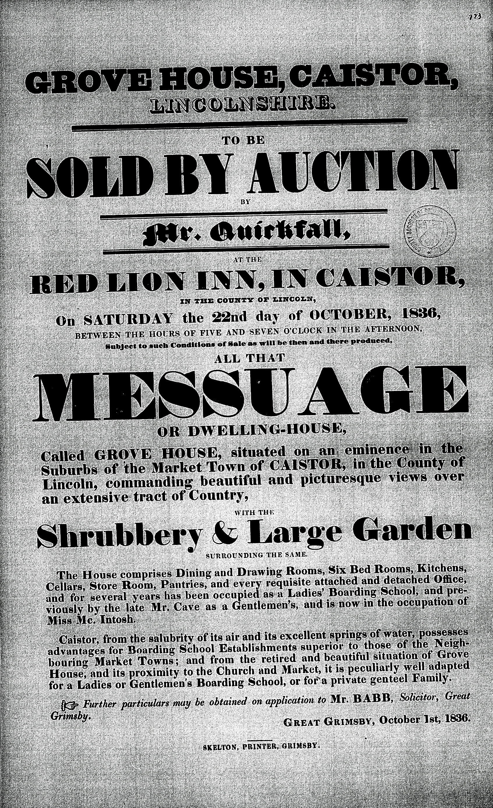 1836 Oct 22 Grove Hse Sale.jpg