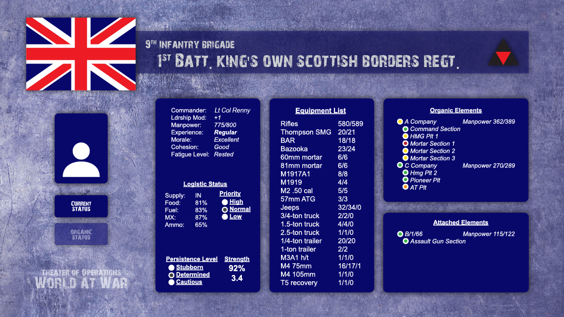 British Battle Info Screen