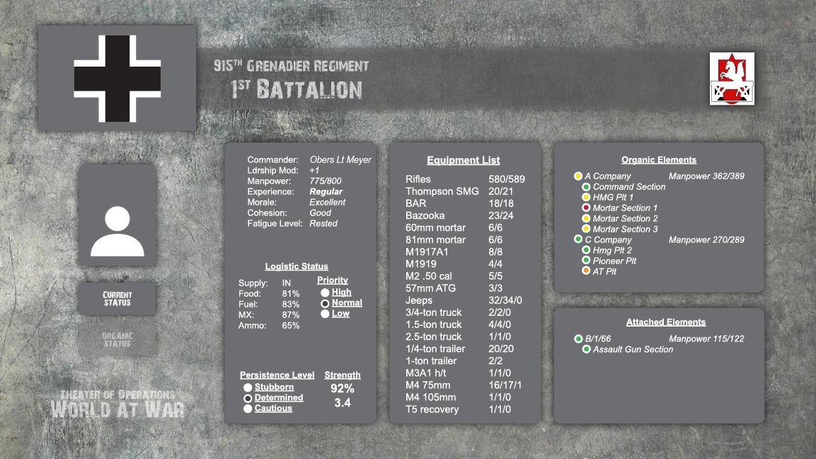 German Battle Info Screen
