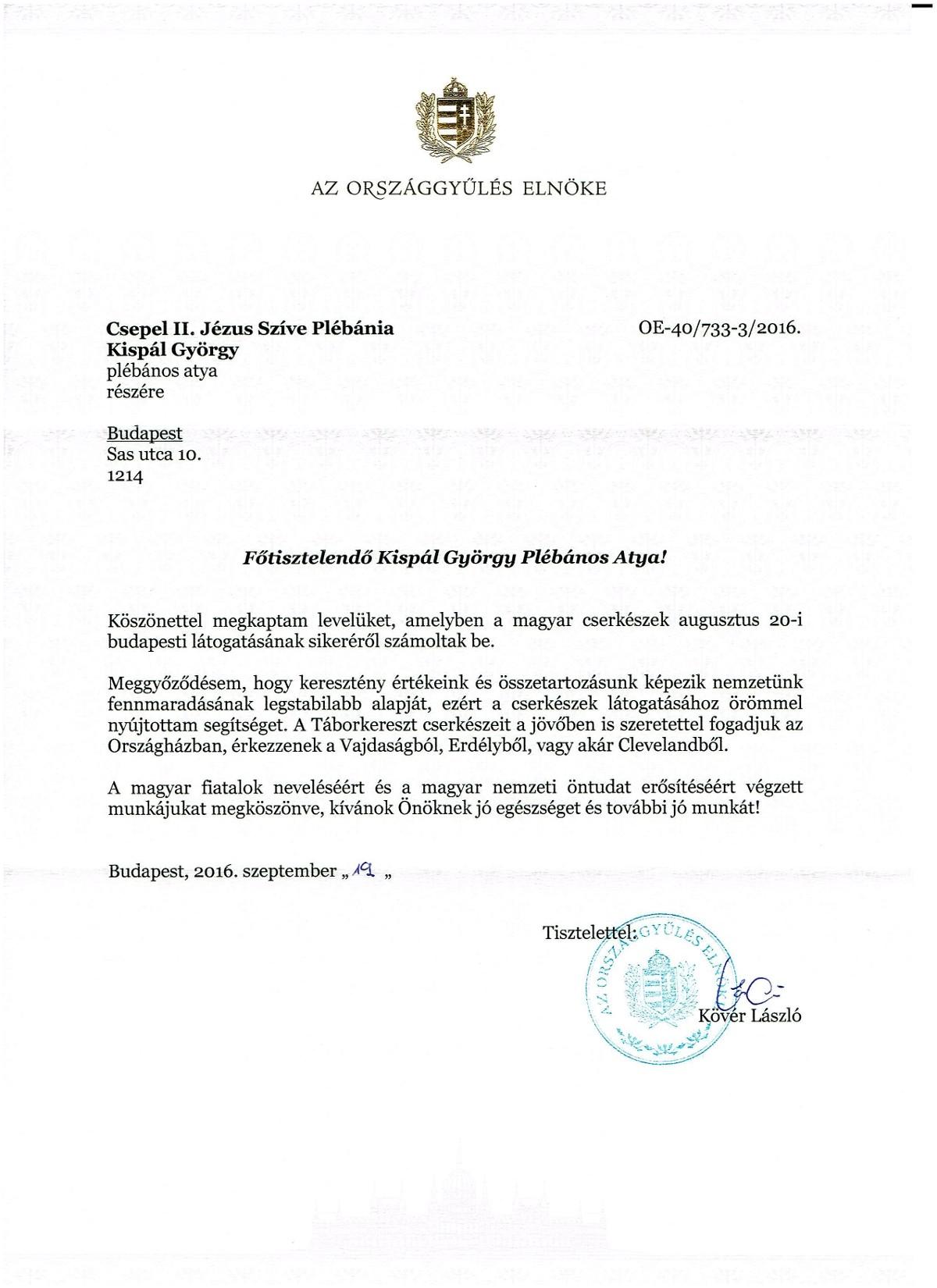 Köszönő levél