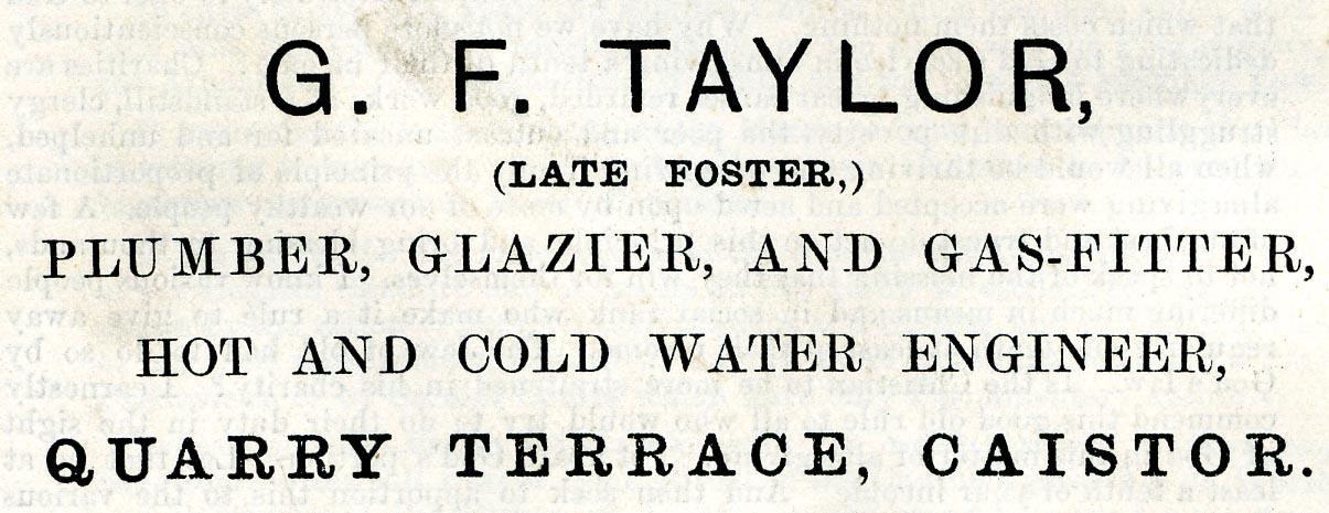 Advert 1898 G F Taylor.jpg