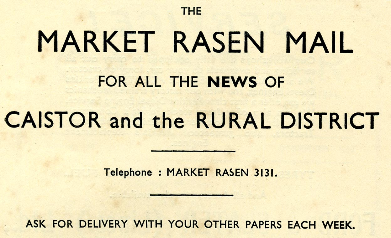 Advert 1953 M Rasen Mail.jpg