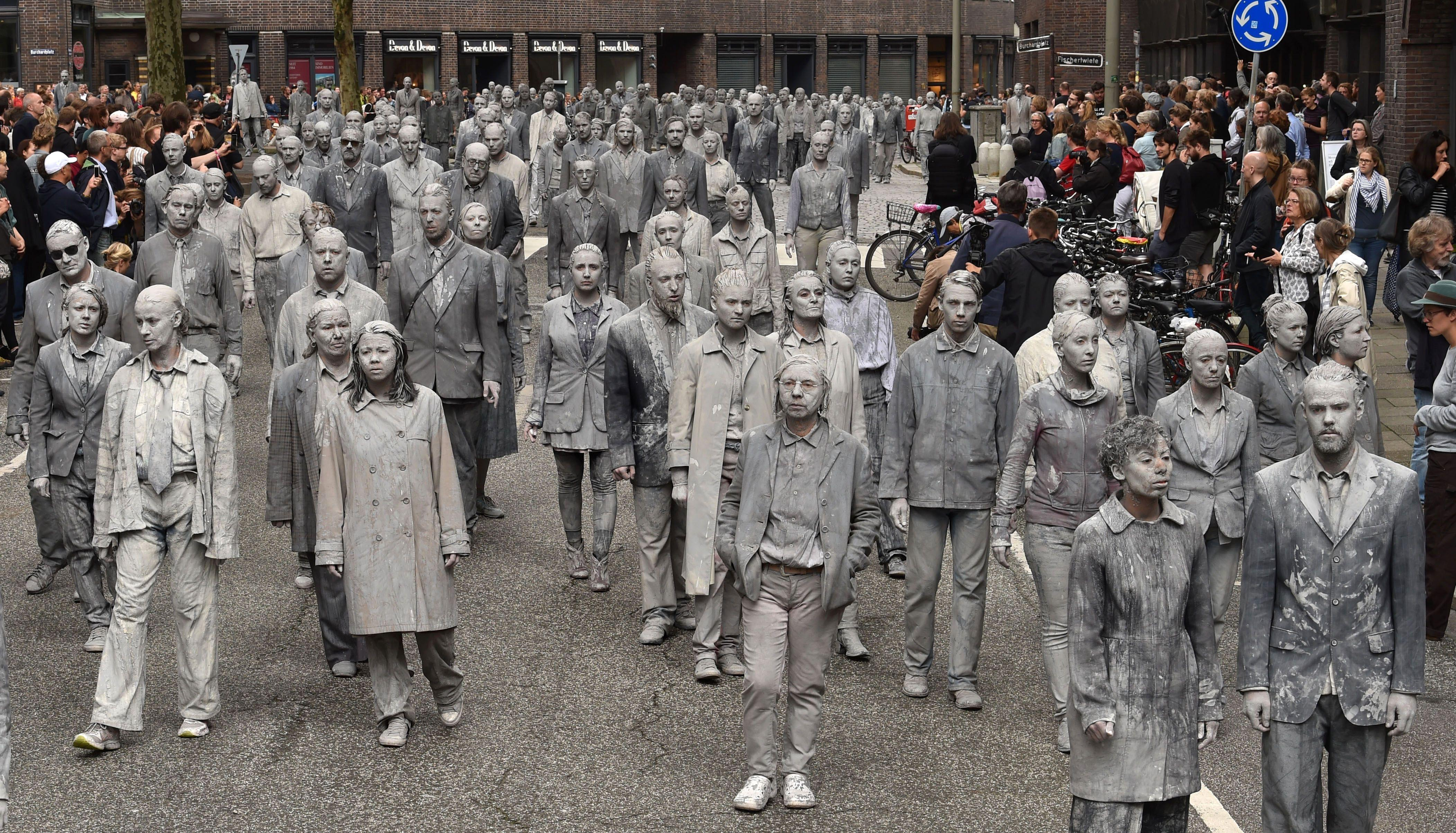 Zombie walk during G20 in Hamburg, 2017