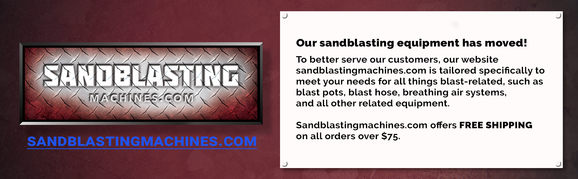 Our Abrasive Blast Equipment has moved to SandblastingMachines.com