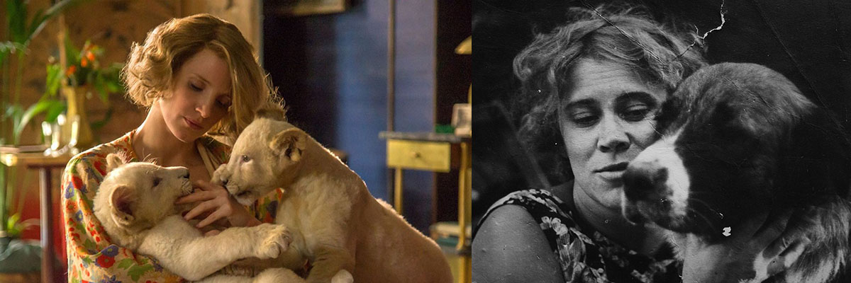 Antonina Żabińska (pictured right) and her on-screen alter-ego - Jessica Chastain. Still from the movie The Zookeeper's Wife directed by Niki Caro, 2016. Pictured: Jessica Chastain, photo: United International Pictures Sp z o.o., Antonina Żabińska, 1930', Warszawa. photo: Jerzy Dudek / Forum