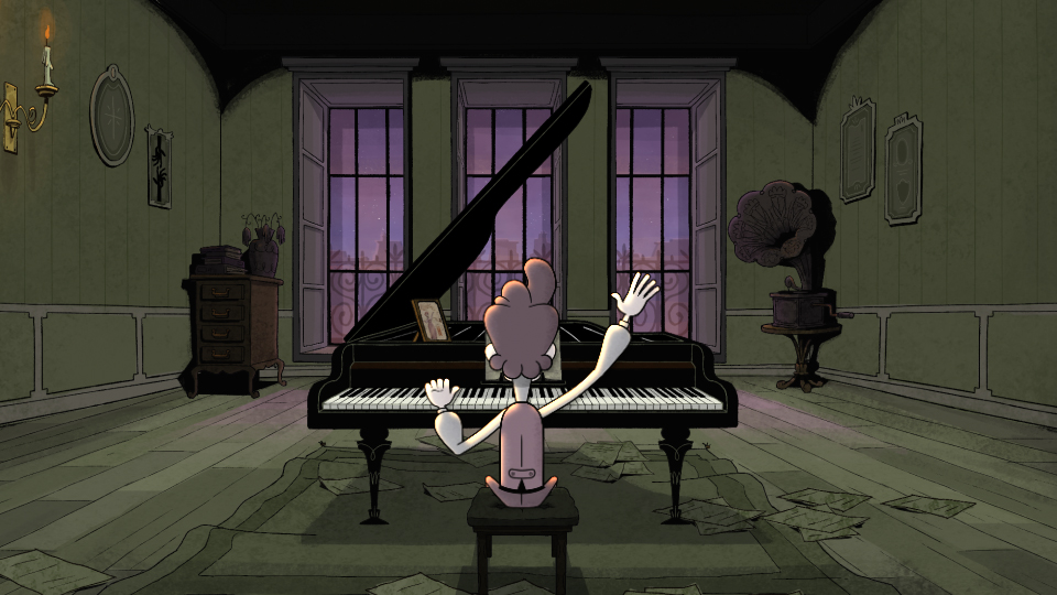 Animation of a man sitting with his back to the viewer while playing a piano in an old-fashioned building.