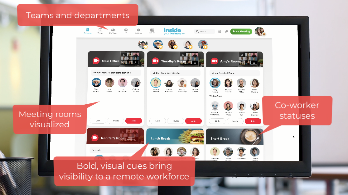 Screenshot of the Inside Your Business platform, showing a shared virtual office.
