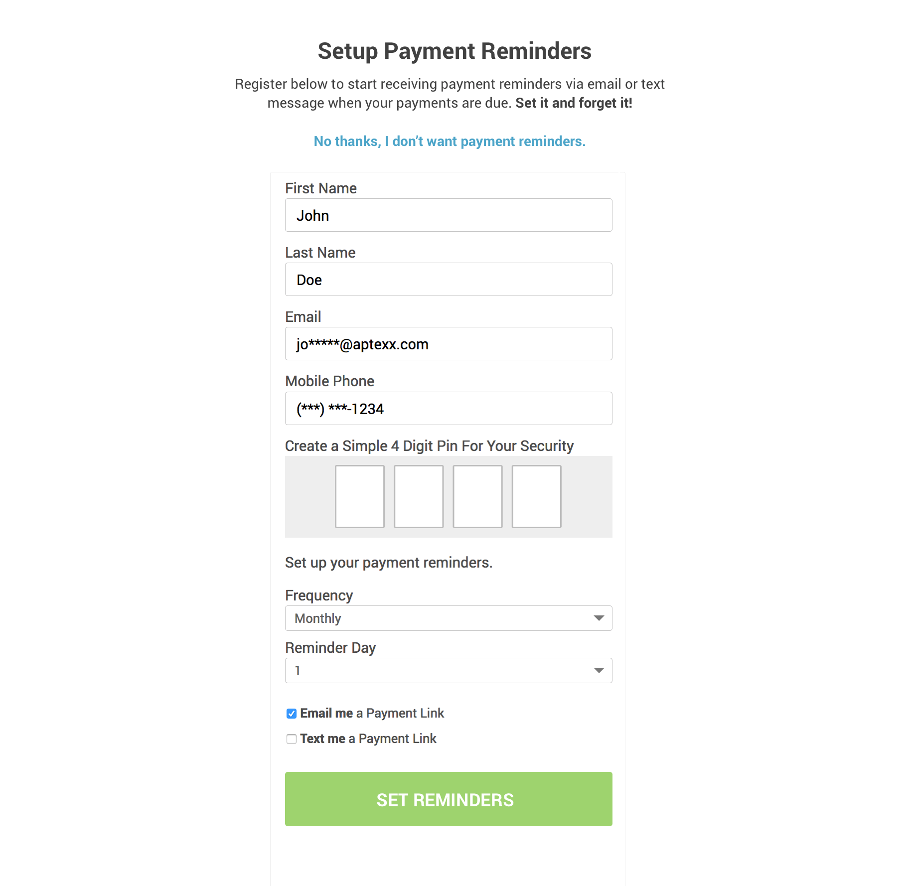 Payment Reminders for ResMan residents