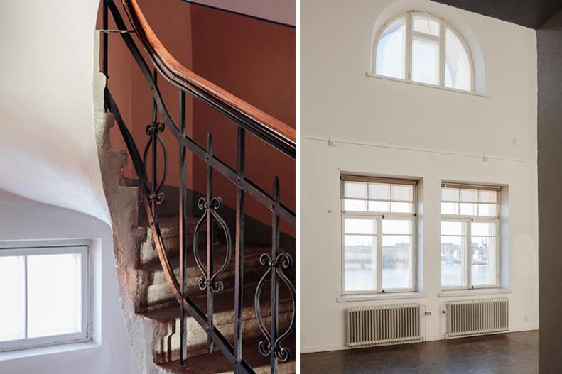 Luotsikasarmin rappukäytävä ja huoneen ikkunallinen seinäpinta