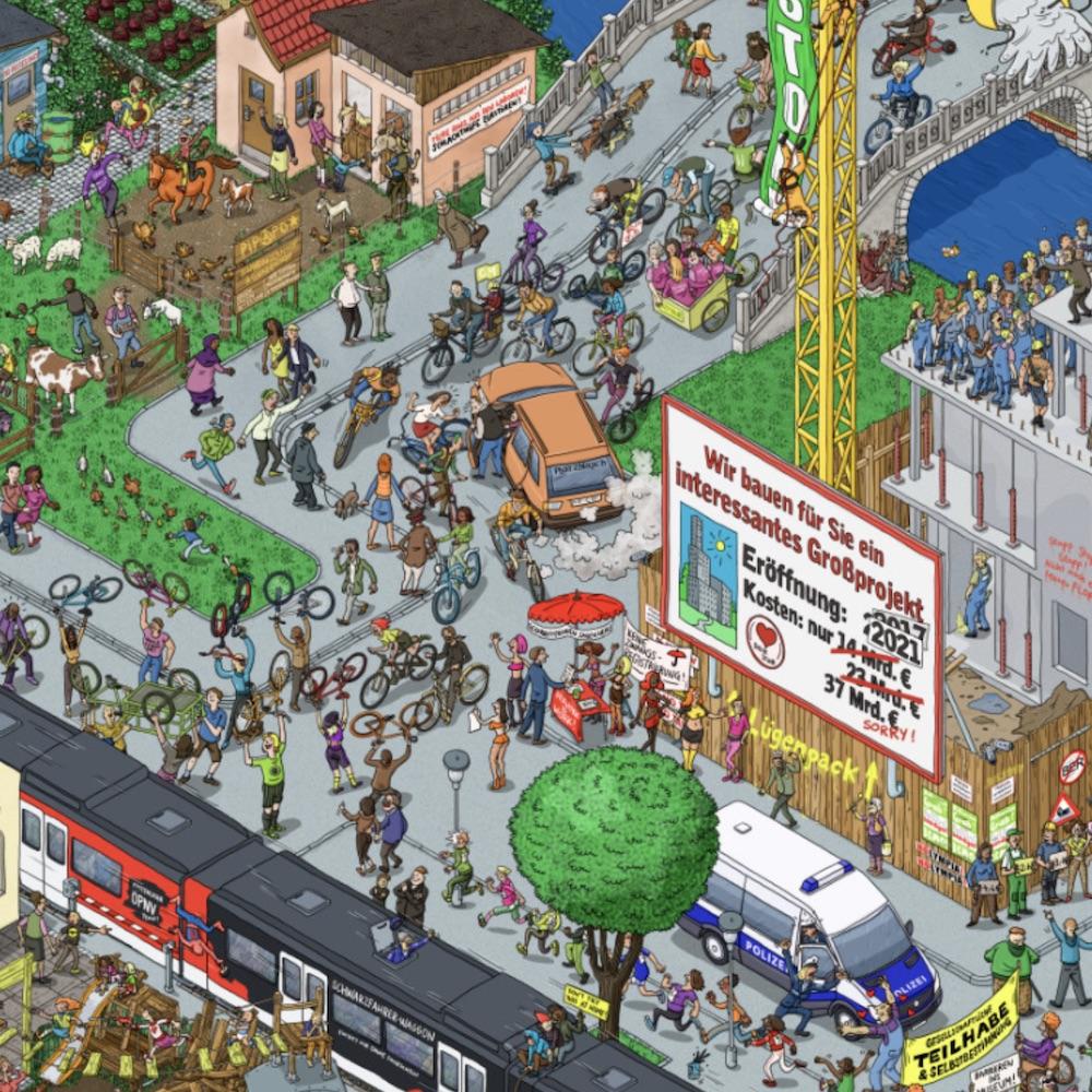 Recht auf Stadt Wimmelbild