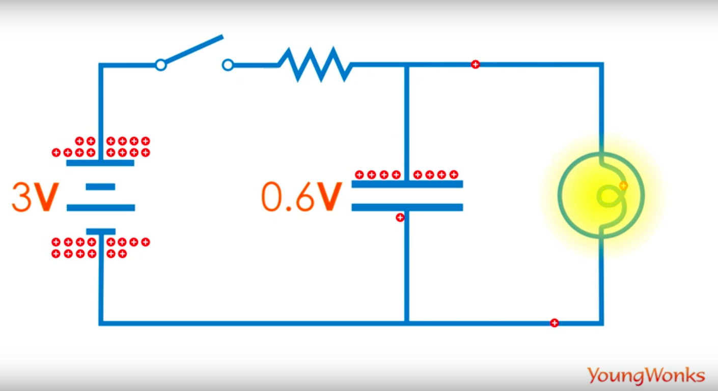 capacitor circuit led lit