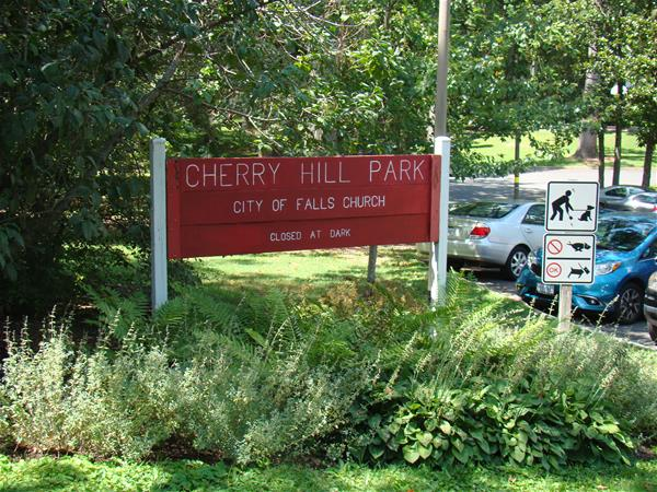 A sign at the entrance of Cherry Hill Park.