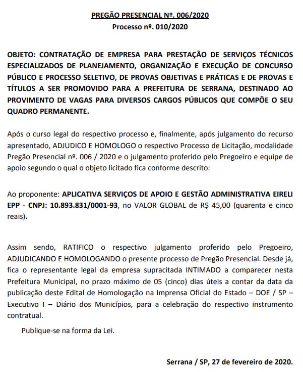 Banca do concurso Prefeitura de Serrana