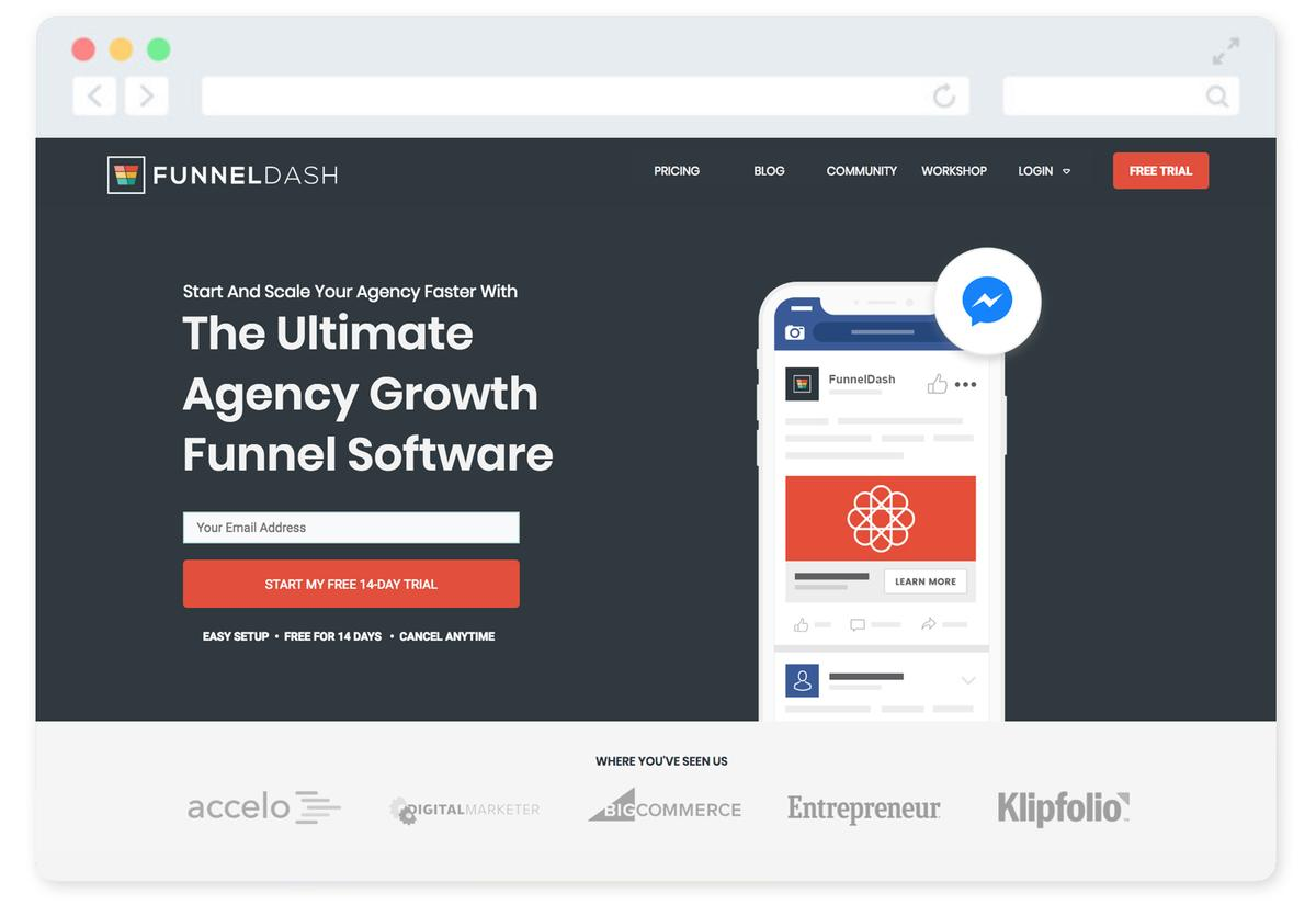 FunnelDash Home page