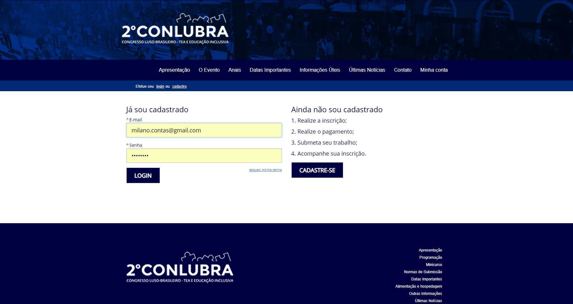 Login para acesso a Página do Participante