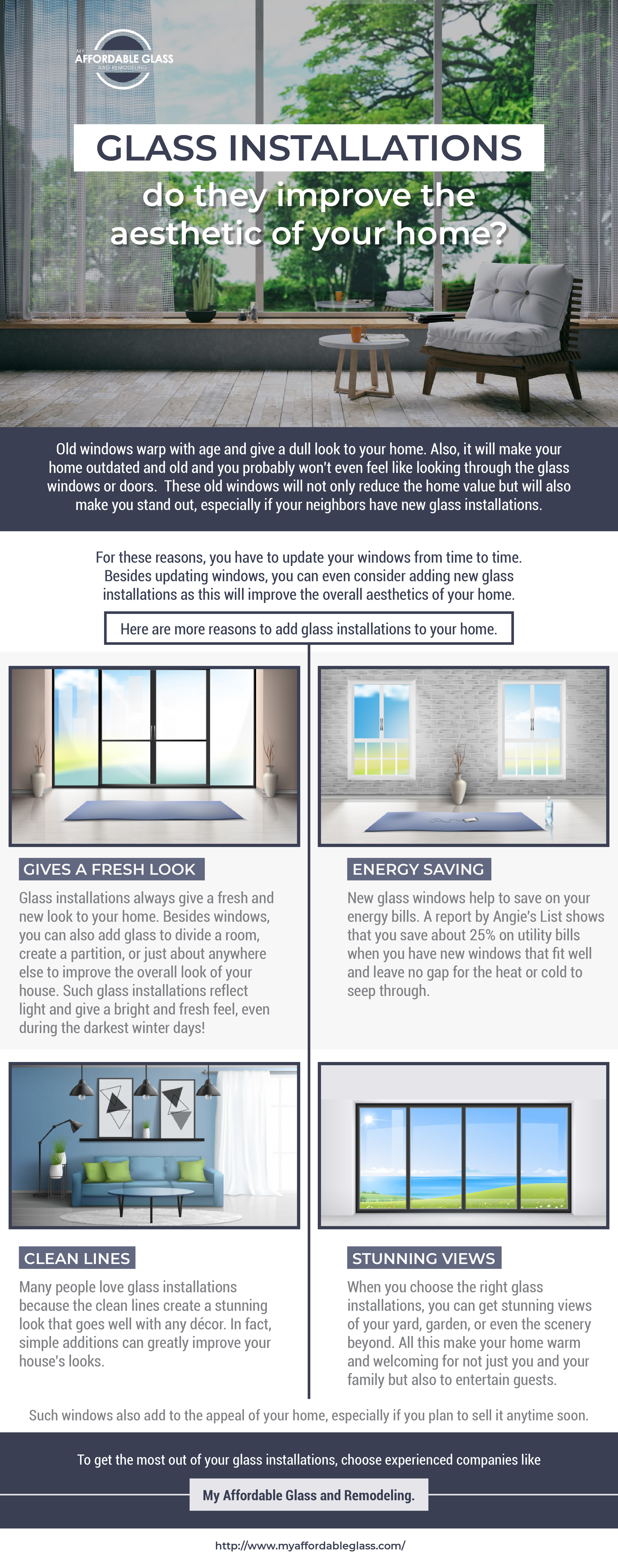 How do glass installations improve the aesthetics of your home?