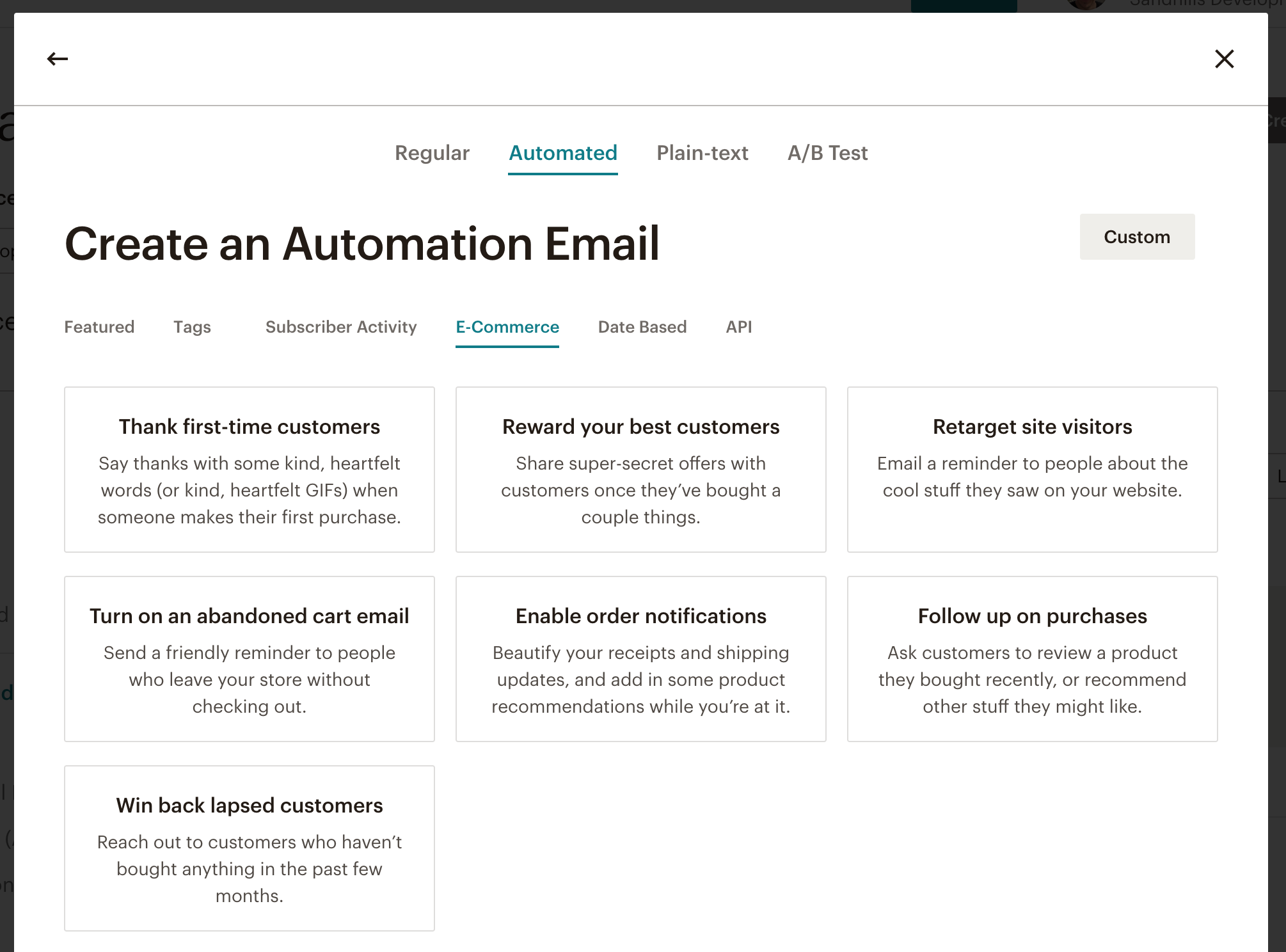 screenshot of the mailchimp email automation possibilities