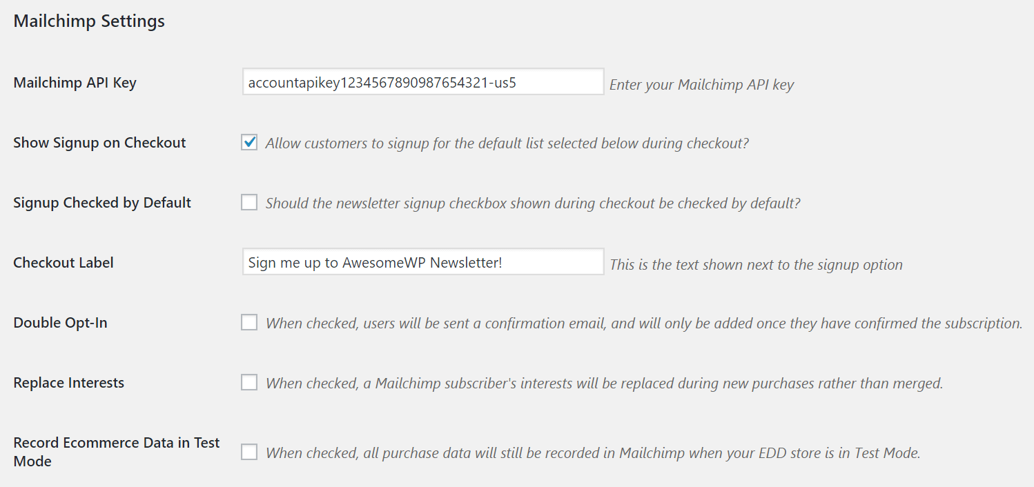 screenshot of the advanced settings for mailchimp
