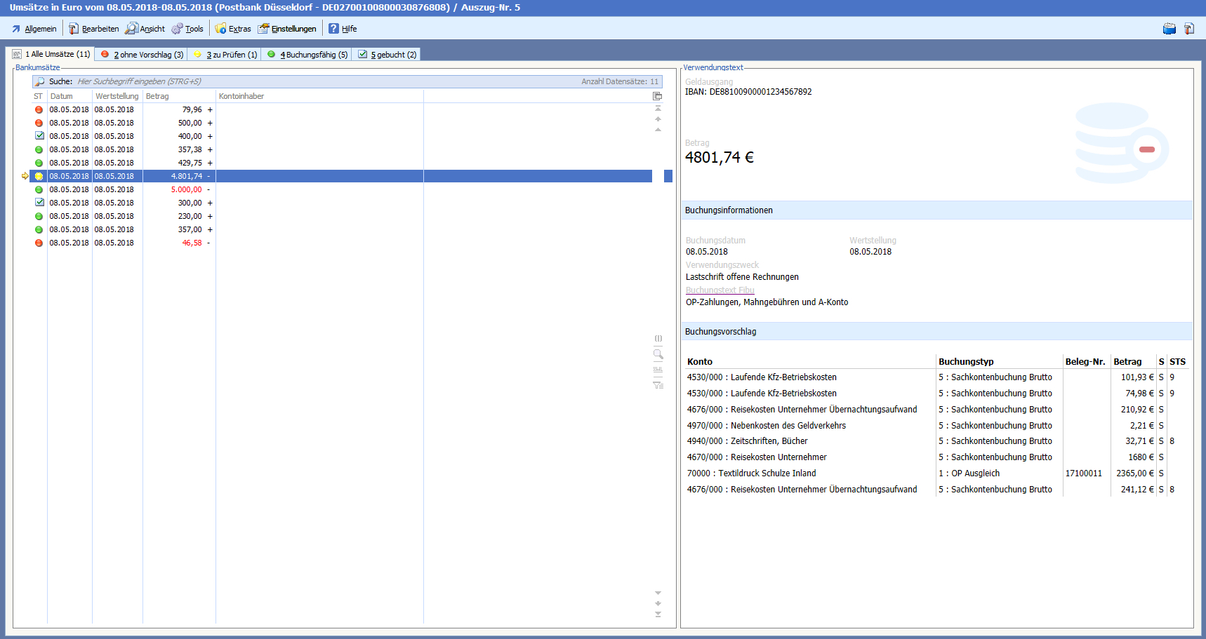 Screenshot vom intelligenten Buchungsassistenten der BüroWARE/WEBWARE - Ampelsystem - Bankauszug bearbeiten