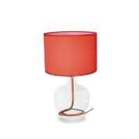 Tischlampe aus transparentem Glas in rot