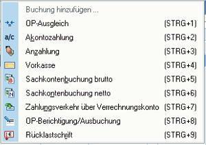 intelligenter Buchungsassistens Screenshot von Shortcuts der Buchungsarten