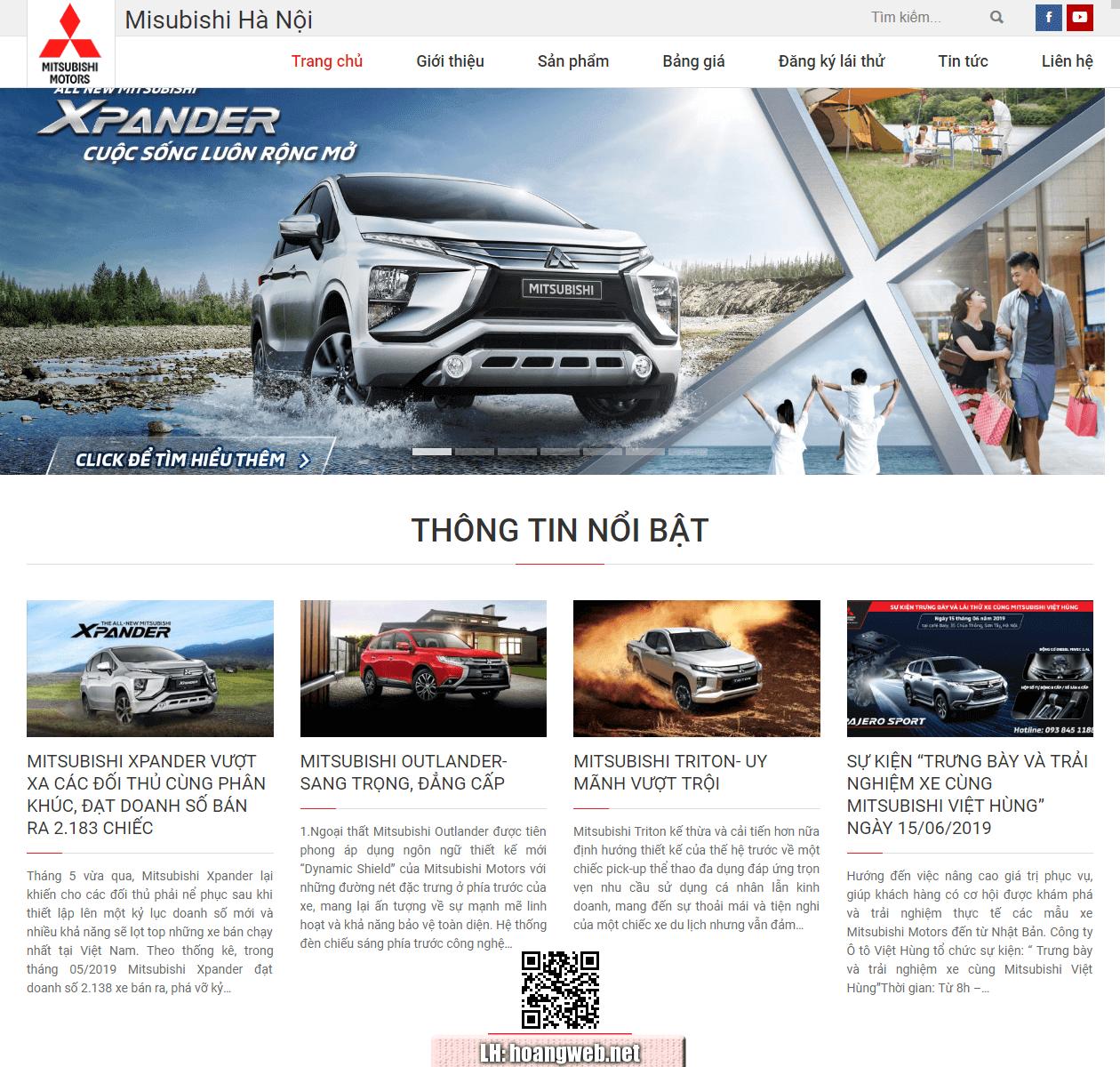 Mẫu web bán xe ô tô Mitsubishi thumbnail