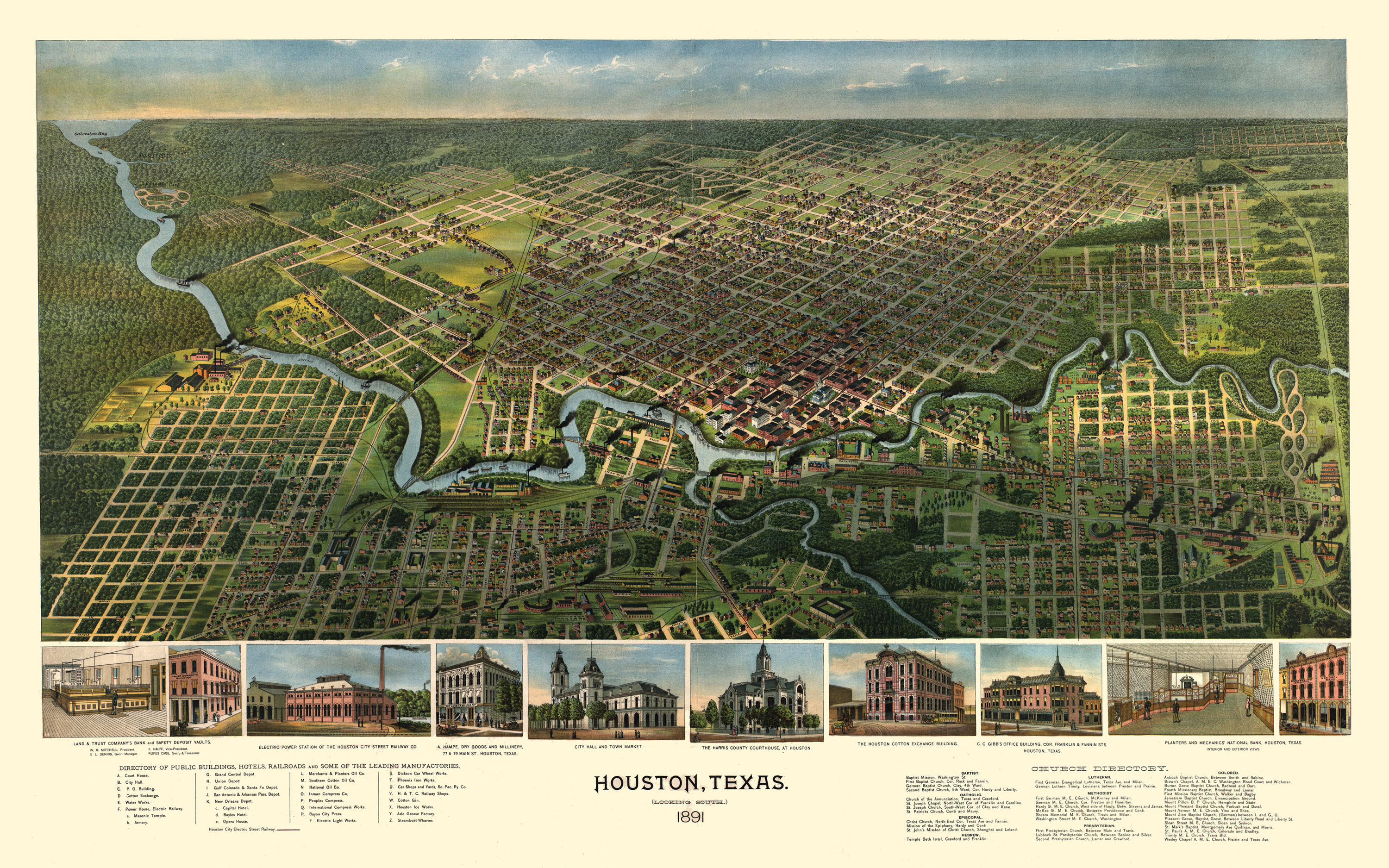 An 1891 map of Houston.