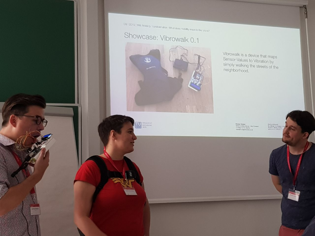 Showcasing vibrowalk, it is a device that maps sensor values to vibration by simple walking the streets of the neighbourhood.