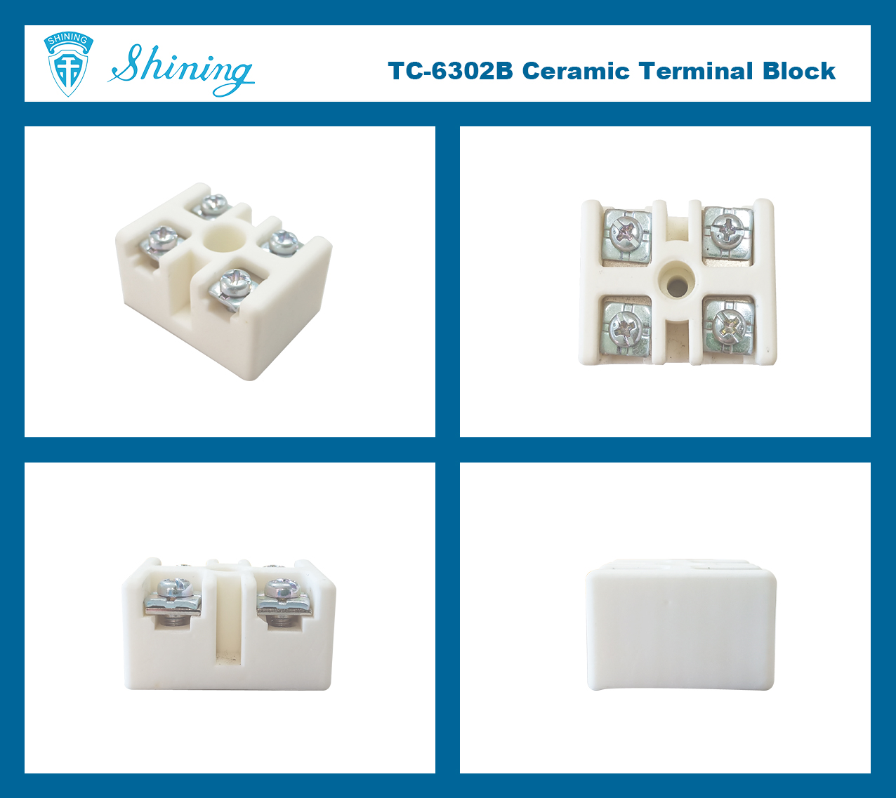 TC-6302B 30A 2 Pin Porcelain Ceramic Terminal Block