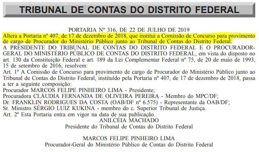 comissão concurso TCDF