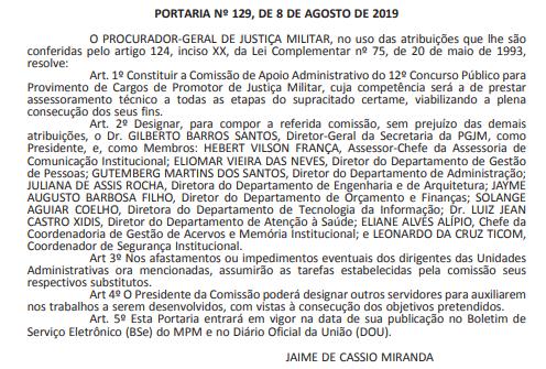 Documento que constitui a Comissão do concurso MPM Promotor