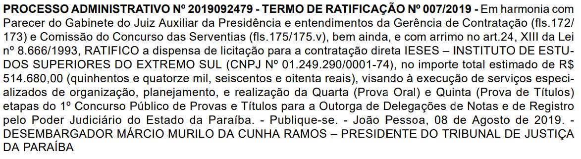 Concurso TJ PB Cartórios: banca definida.