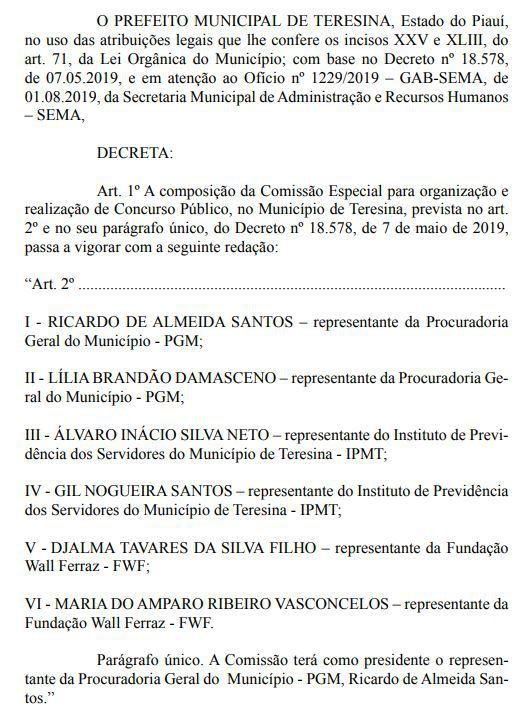 Documento publicado com nova comissão do concurso Prefeitura de Teresina