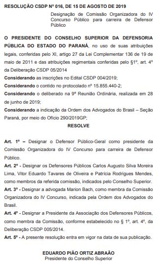Concurso DPE PR Defensor: comissão organizadora do concurso.