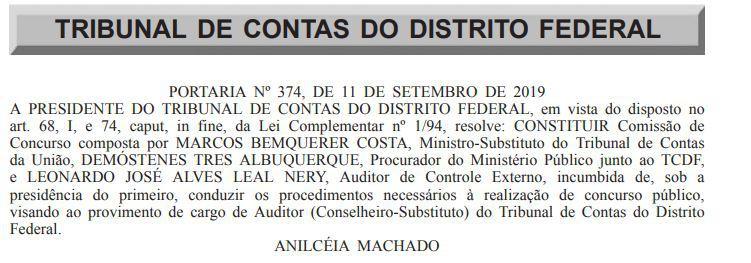 comissão TCDF Conselheiro