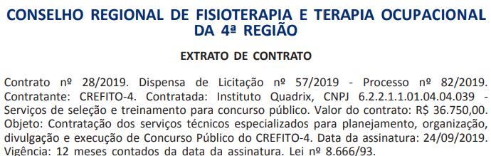 Concurso CREFITO 4 MG: banca oficializada.