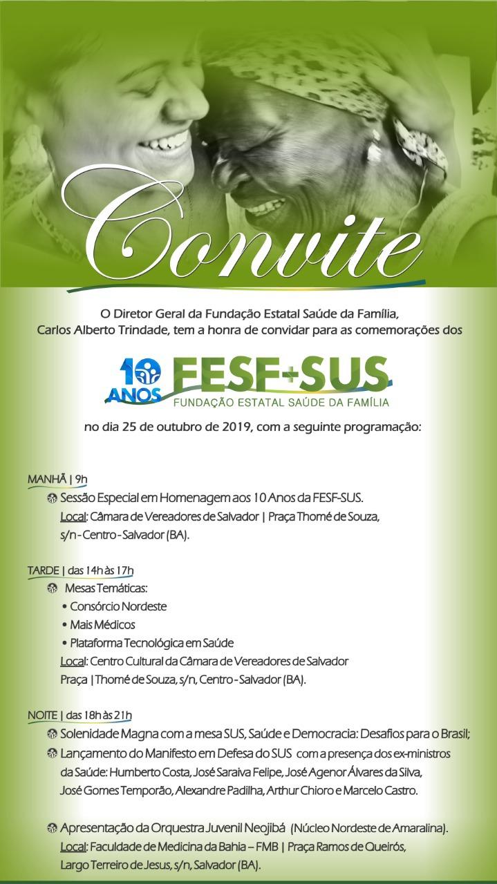 Convite FESF-SUS 10 Anos