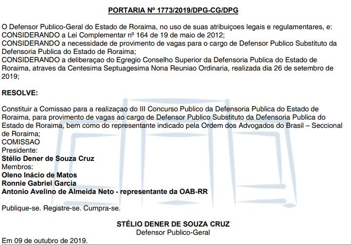 Concurso DPE RR Defensor: comissão formada.