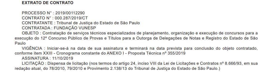 Concurso TJ SP Cartórios: banca oficializada.