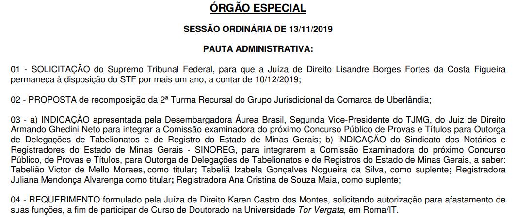 Concurso Cartório MG: pauta da sessão ordinária do Órgão Especial.