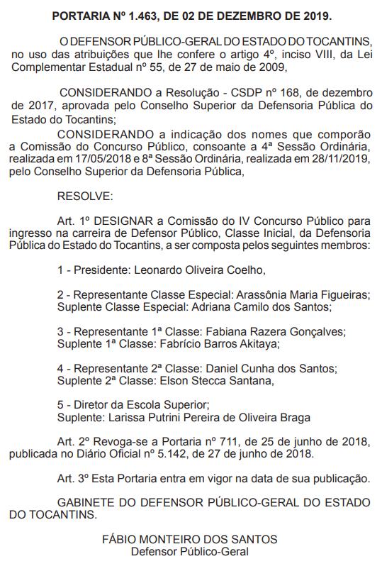 Concurso DPE TO: nova comissão do concurso para Defensor.