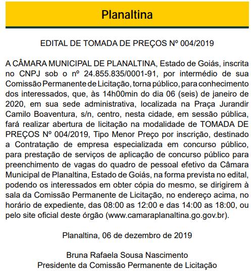 Edital de tomada de preços do concurso Câmara de Planaltina GO