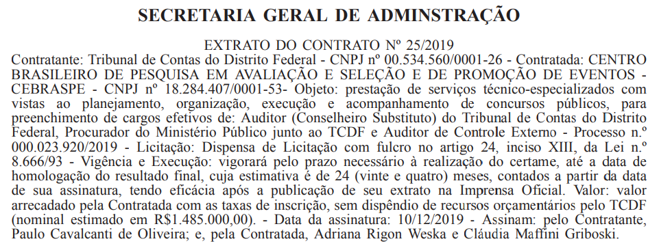 Concurso TCDF: contrato com o Cebraspe