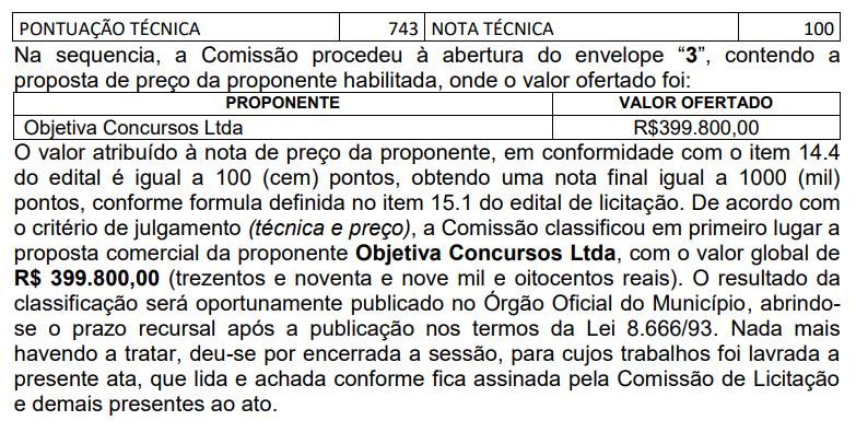 Resultado da Licitação que habilitou a Objetiva como banca do concurso Prefeitura de Cascavel