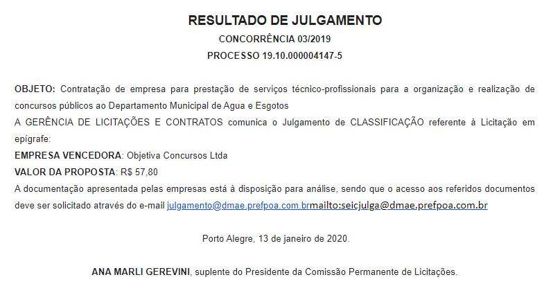 Objetiva é definida como banca do concurso DMAE Porto Alegre